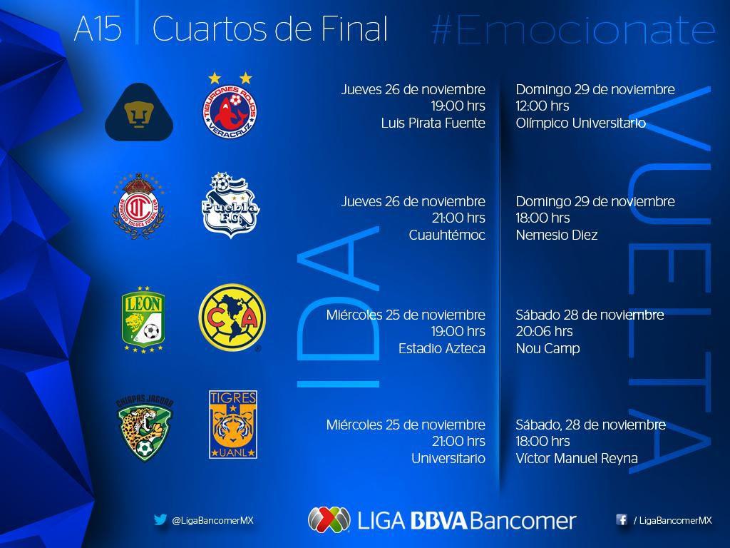 Calendario oficial de la Liguilla de la Liga MX