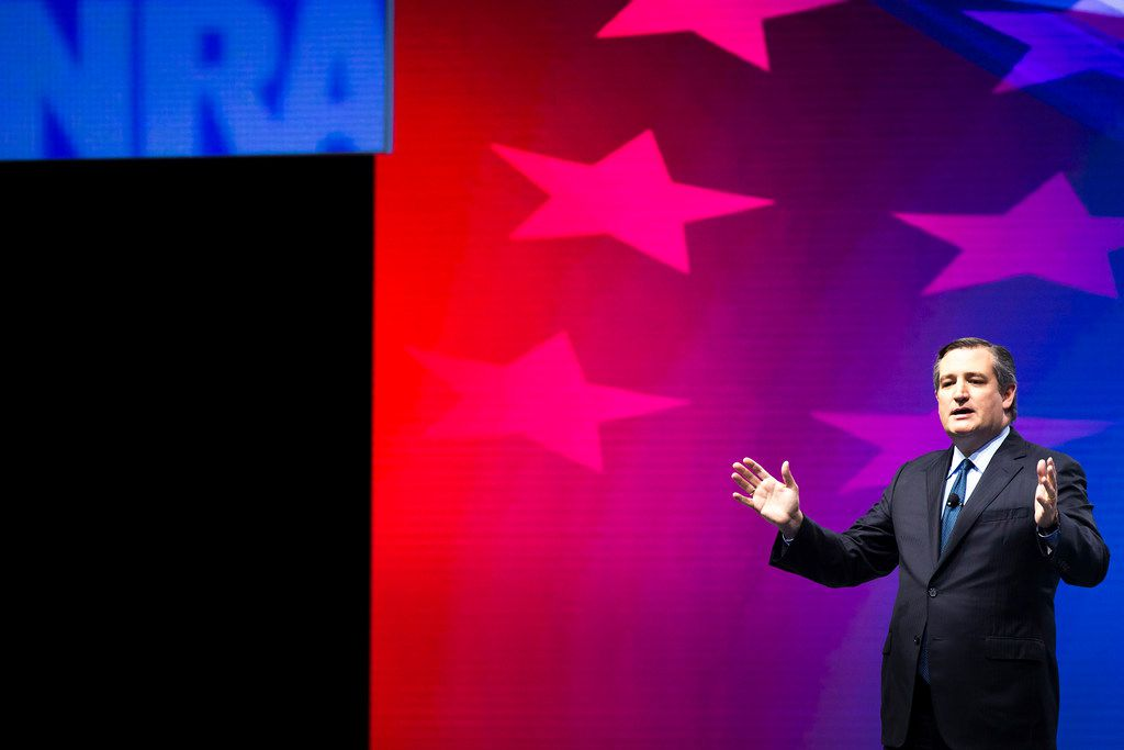Texas Sen. Ted Cruz addresses the NRA-ILA Leadership Forum at the Kay Bailey Hutchison Convention Center in Dallas.