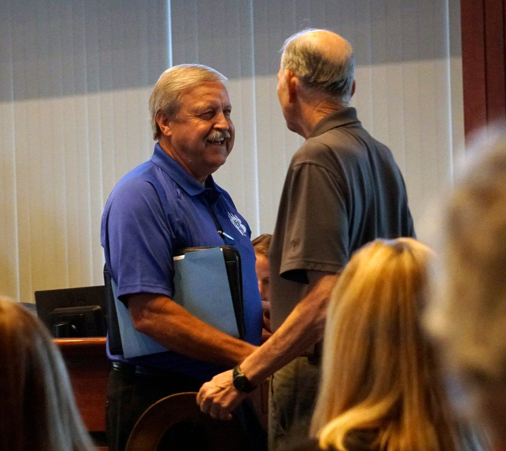 White Settlement ISD School Board President Randy Armstrong, left, before a school board meeting in August 2019.