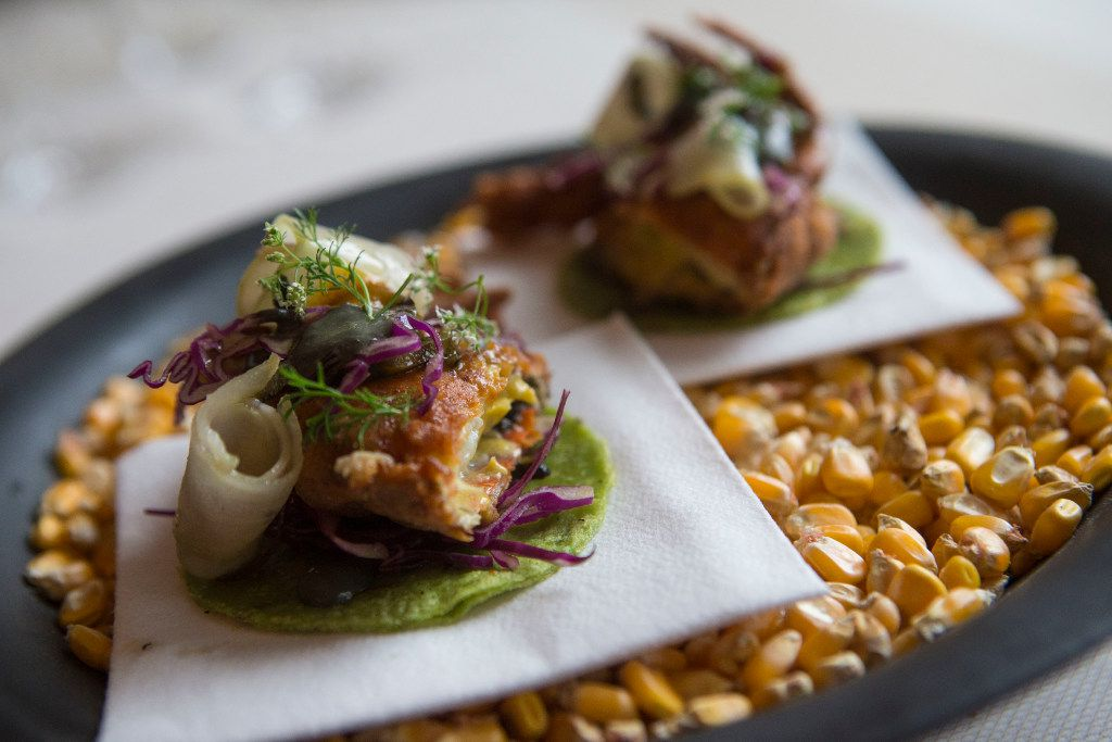 Chicken fried soft-shell crab tacos at Stephan Pyles Flora Street Cafe (Ryan Michalesko/The Dallas Morning News)