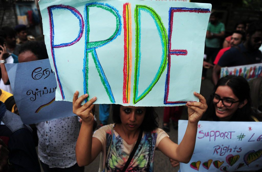 Indian members of the LGBT (Lesbian, Gay, Bisexual, Transgender) community take part in a pride parade, calling for freedom from discrimination on the grounds of sexual orientation, in Chennai on June 26.