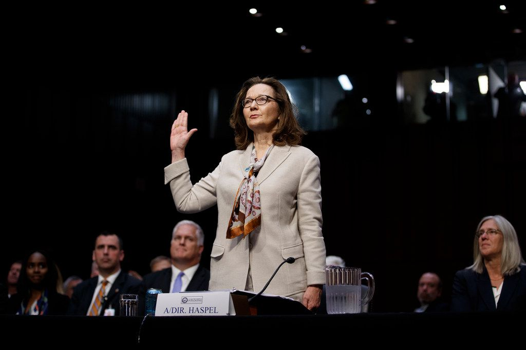 Gina Haspel, the Trump administration's nominee to lead the CIA, is sworn in for testimony before Senate Intelligence Committee, on Capitol Hill in Washington, May 9, 2018.