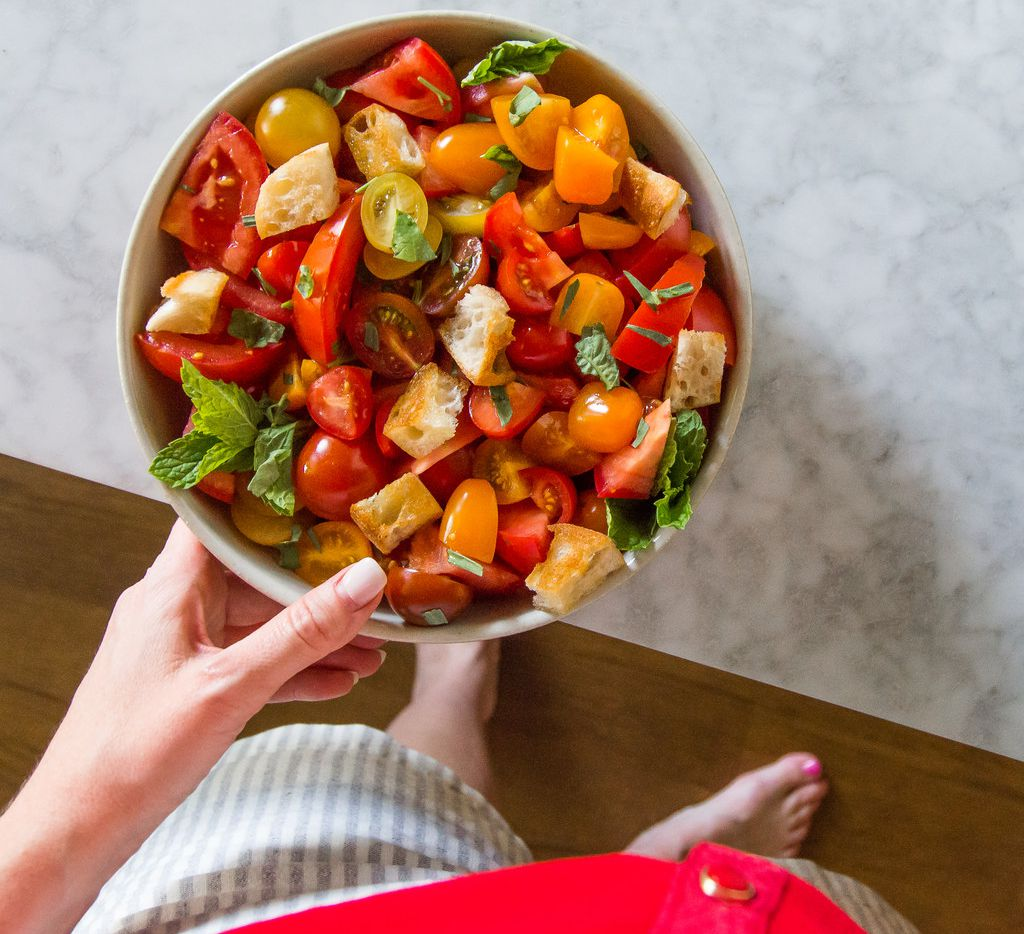 Tomato Herb Salad with Buttery Croutons