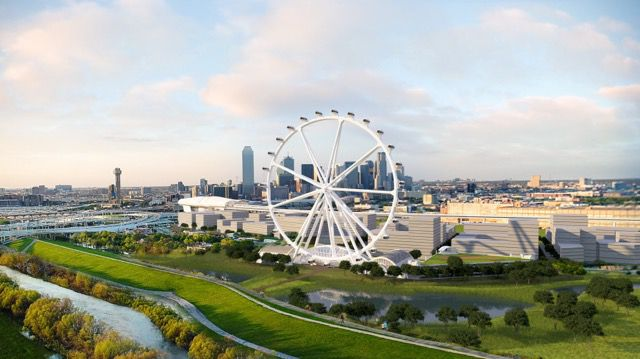 The more than 500-foot tall observation wheel would be built on Riverfront Boulevard south of downtown.