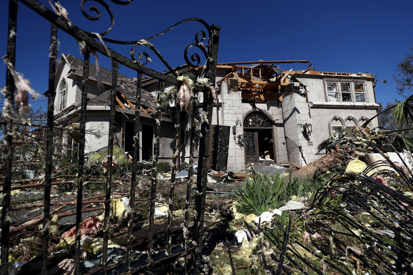 A tornado damaged home owned by NHL hockey player Tyler Seguin of the Dallas Stars on October 21, 2019 in Dallas, Texas. Seguin was currently selling the home and no one was in the home when the tornado hit.