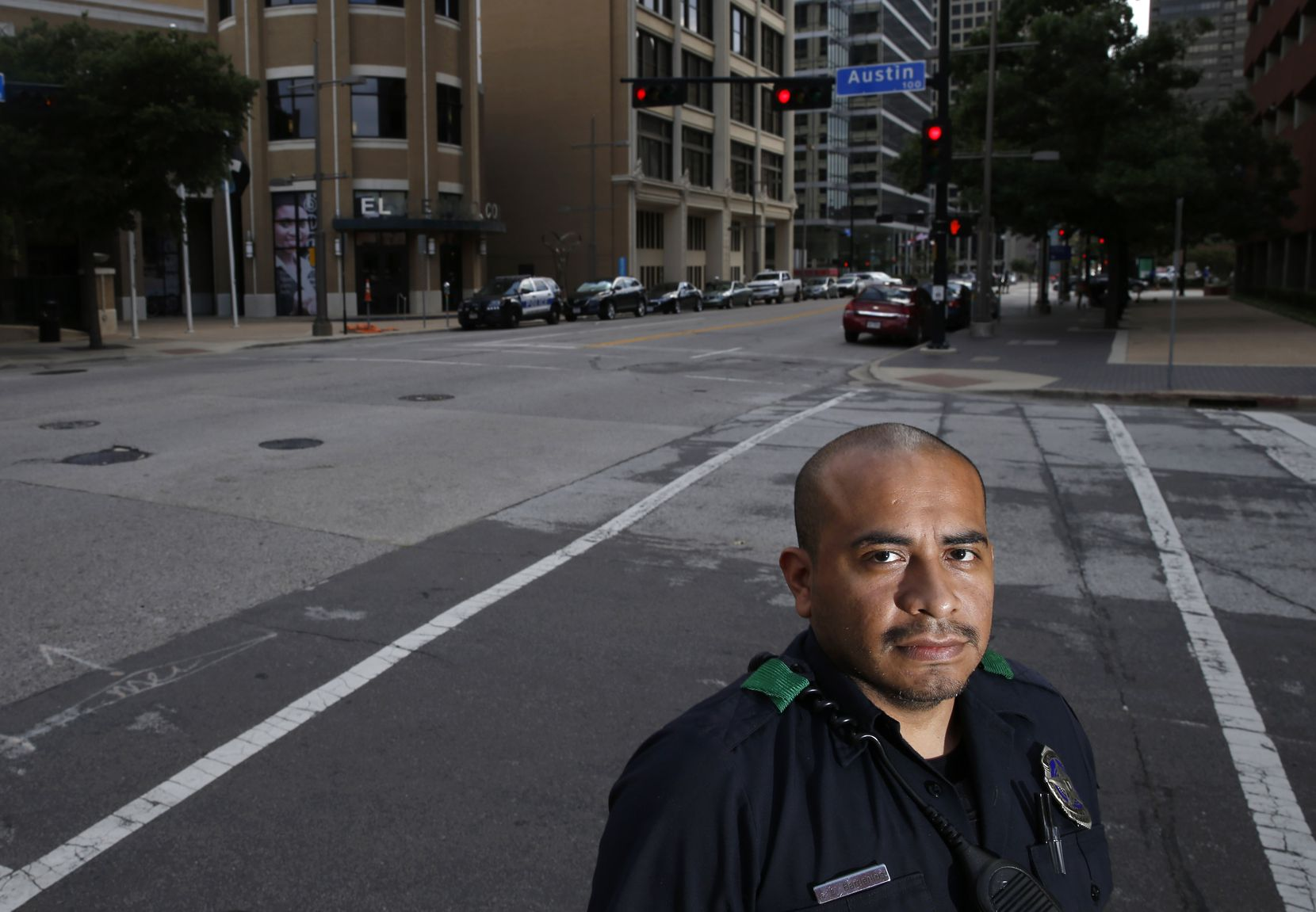 Dallas Police officer Jorge Barrientos poses for a portrait near El Centro College in downtown Dallas on Friday, July 5, 2019. Officer Barrientos was one of many officers that responded to the call as a gunman in downtown Dallas shot and killed five officers.