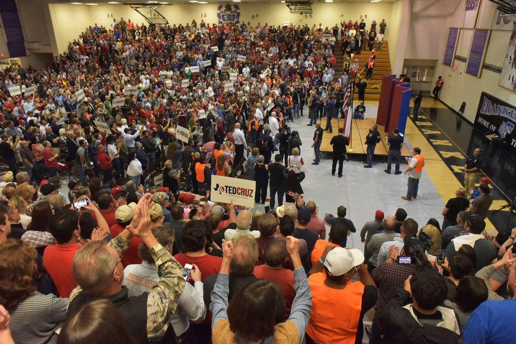 Texas Sen. Ted Cruz addresses his supporters during a rally, Saturday, Oct. 13, 2018, at Franklin High School in El Paso, Texas. (Brian Kanof/The El Paso Times via AP)