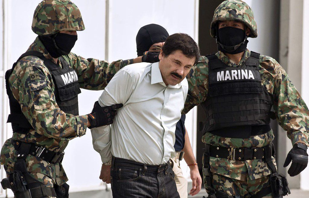 Mexican drug trafficker Joaquín Guzmán Loera, known as El Chapo Guzmán, was escorted by marines in early 2014 to be presented to the press in Mexico City.