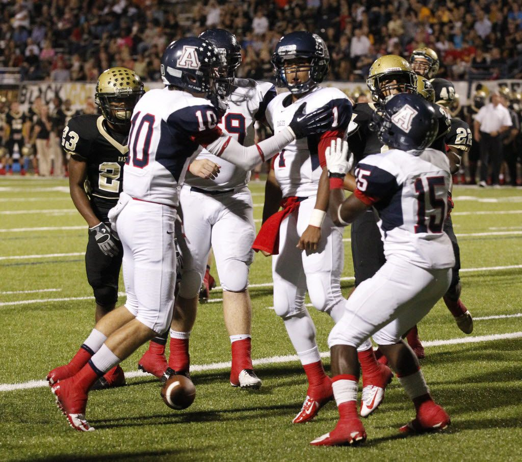 Allen quarterback Kyler Murray (1)  celebrates his rushing touchdown against Plano East during the first half of their high school football game at Tom Kimbrough Stadium on October 12, 2012. (Michael Ainsworth/The Dallas Morning News)