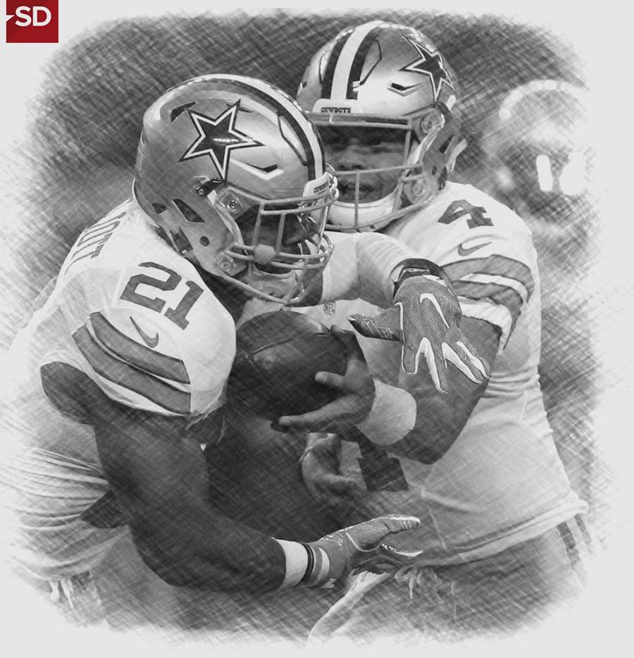 Cowboys running back Ezekiel Elliott (left) and quarterback Dak Prescott.