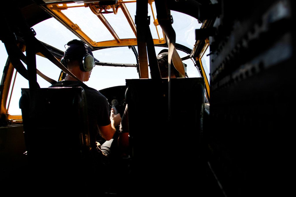 Pilot Will Dismukes and co-pilot Eric Whyte with the Collins Foundation fly a North American B-25 Mitchell Bomber over North Texas as part of their Wings of Freedom Tour on Wednesday, March 13, 2019.