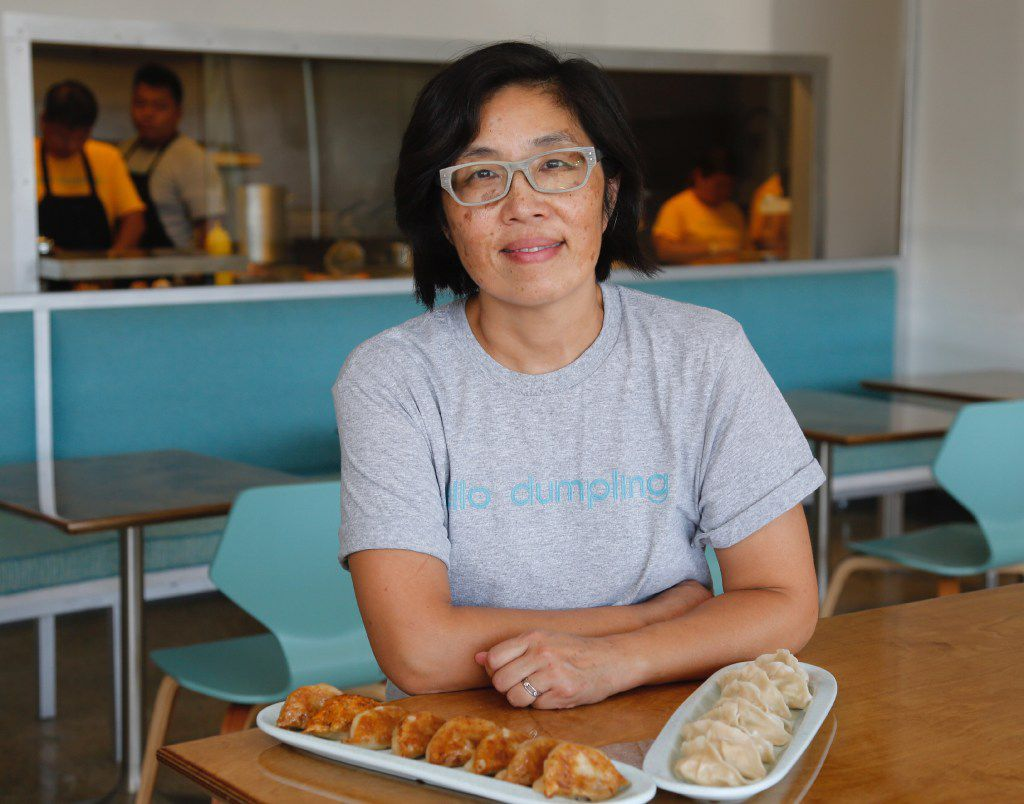 Hello Dumpling owner June Chow, photographed with the pan fried beef dumplings and steamed fish