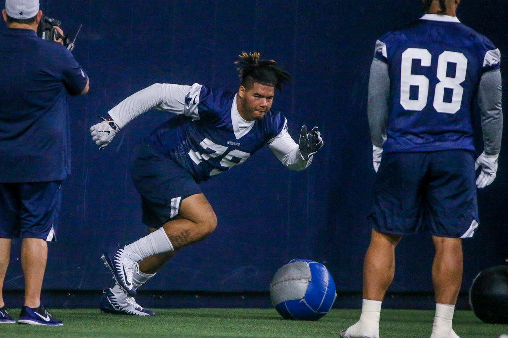Dallas Cowboys defensive tackle Trysten Hill (79) runs through a drill during the Cowboys rookie minicamp practices at The Star in Frisco, Texas on Saturday, May 11, 2019.(Shaban Athuman/Staff Photographer)