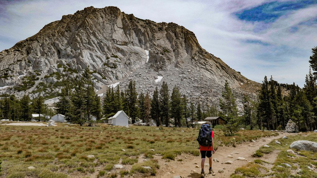 Andy Irwin, 13, approaches the Vogelsang High Sierra Camp at the base of Fletcher Peak in Yosemite National Park in California.