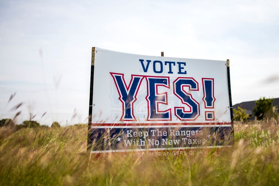 Pro-New Rangers Stadium signs stands on the Arlington Municipal Airport grounds. on Oct. 13, 2016 in Arlington, Texas.