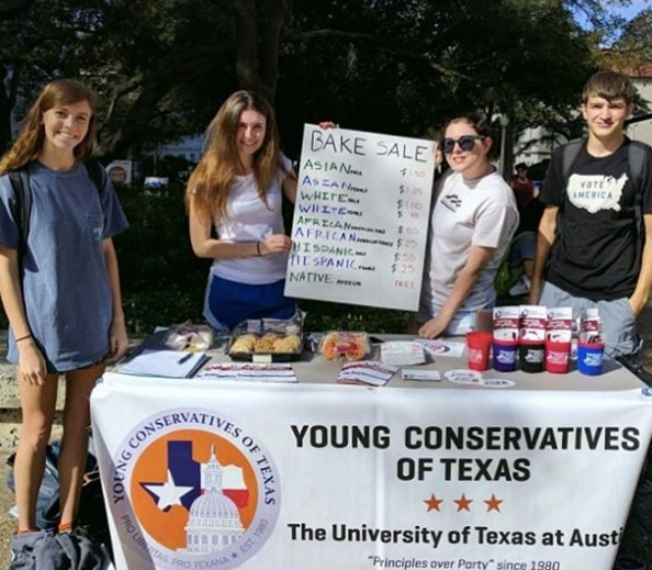 The Young Conservatives of Texas club at the University of Texas at Austin sold cookies at a bake sale Wednesday at different prices depending on the race and sex of the buyer. The club came under fire from the university in 2013 for holding a nearly identical bake sale.