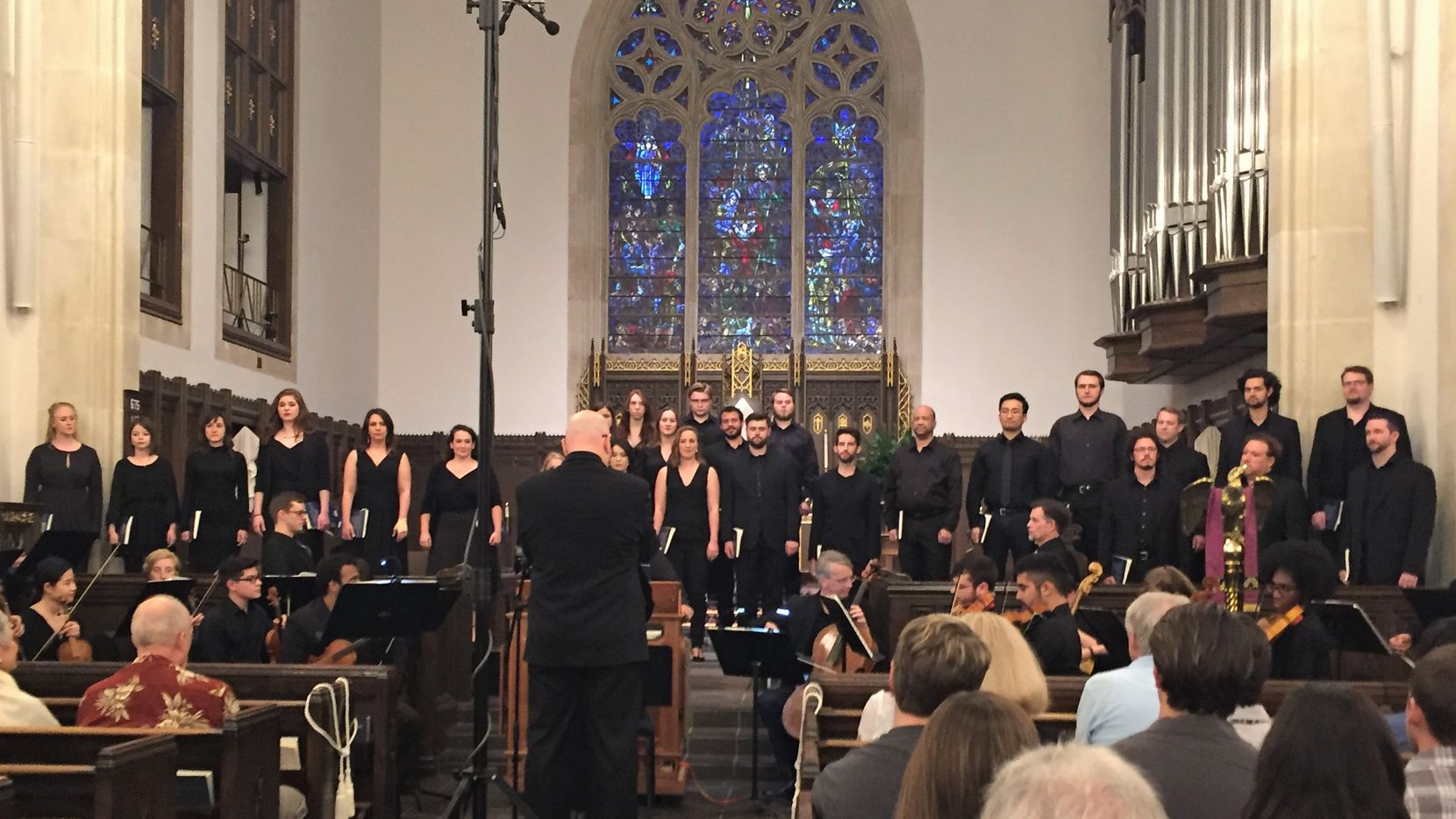 The UNT Baroque Orchestra tunes before a performance of the Bach St. John Passion, led by Richard Sparks, with the UNT Collegium Singers, at Episcopal Church of the Incarnation in Dallas, on April 1, 2017. (Scott Cantrell/Special Contributor)