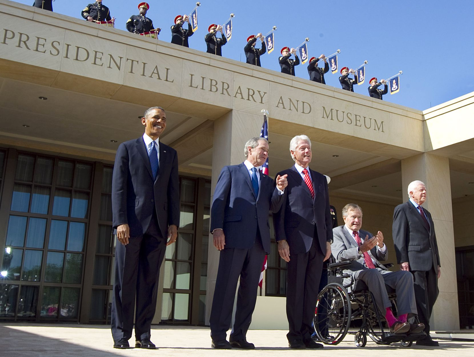 2013: George H.W. Bush was among those in a rare photo of five living U.S. presidents at the George W. Bush Presidential Center dedication in University Park. From left are Barack Obama, George W. Bush, Bill Clinton, George H.W. Bush and Jimmy Carter.