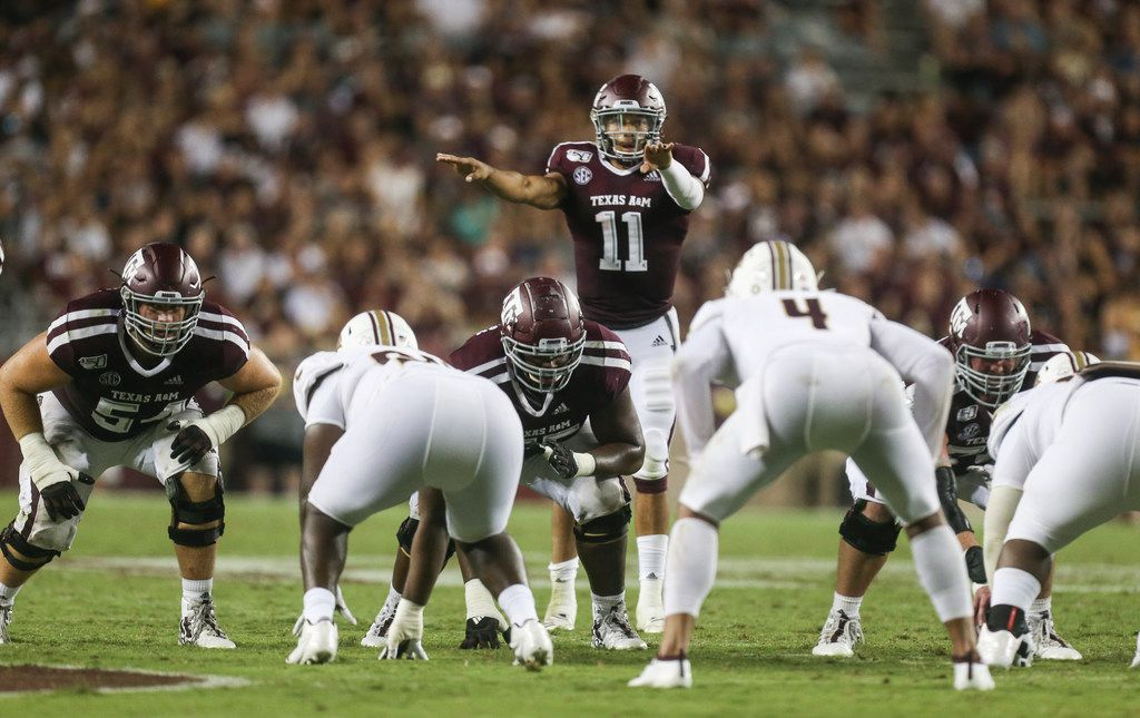 Texas A&M Aggies quarterback Kellen Mond (11) calls out a play during the second quarter of a college football game between Texas A&M and Texas State on Thursday, Aug. 29, 2019 at Kyle Field in College Station, Texas.