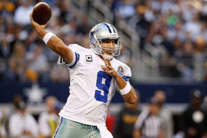 Dallas Cowboys quarterback Tony Romo (9) throws a pass down the field against the Pittsburgh Steelers at Cowboys Stadium in Arlington, Texas, on December 16, 2012.