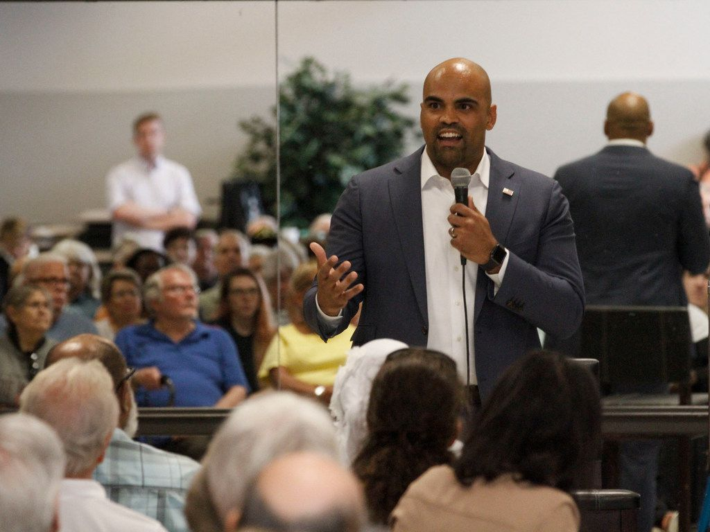 U.S. Representative Colin Allred speaks at a town hall meeting at the Garland Senior Activity Center in Garland, Texas, Monday, August 12, 2019.