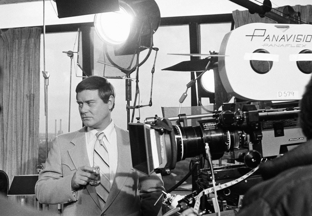 Actor Larry Hagman on the set of the television series Dallas in 1979.  Hagman was known worldwide as the villainous patriarch J.R. Ewing in the prime-time soap, which also created a new public image for the city.