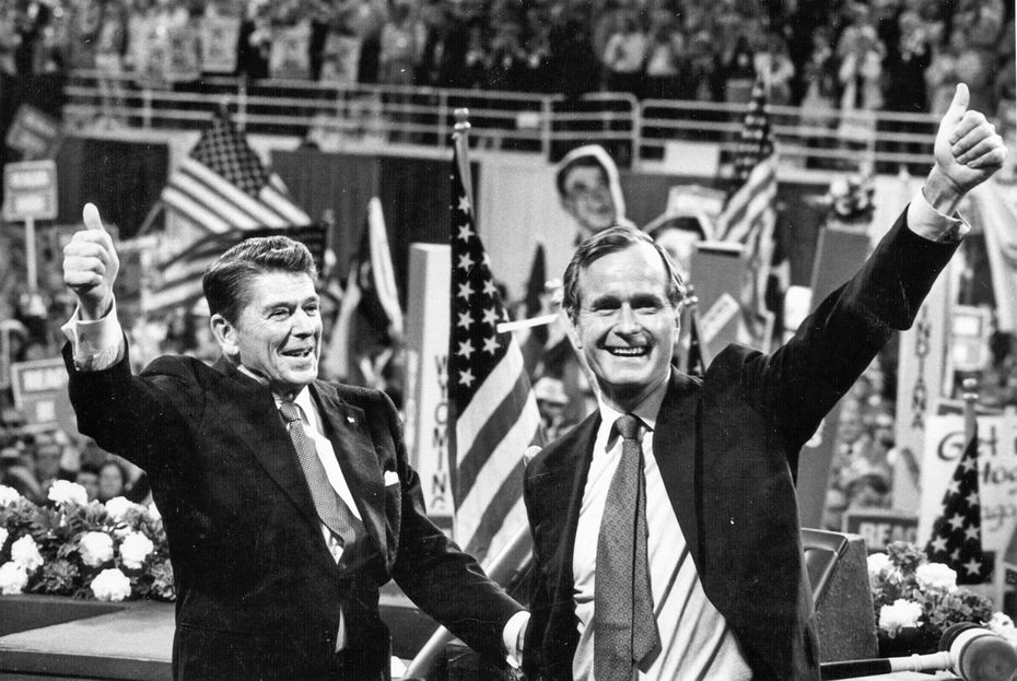 Former Gov. Ronald Reagan of California and Bush celebrate as they are nominated for the GOP ticket on July 14, 1980, at the Republican National Convention at Joe Louis Arena in Detroit.