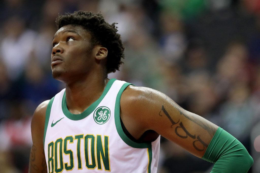 WASHINGTON, DC - APRIL 09: Robert Williams III #44 of the Boston Celtics looks on against the Washington Wizards in the first half at Capital One Arena on April 09, 2019 in Washington, DC. NOTE TO USER: User expressly acknowledges and agrees that, by downloading and or using this photograph, User is consenting to the terms and conditions of the Getty Images License Agreement. (Photo by Rob Carr/Getty Images)