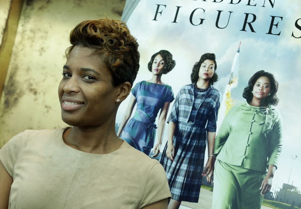 """Jennifer Stimpson, one of the National Society for Black Engineers DFW """"Hidden Figures of Dallas"""" finalists, poses for a photograph after a special screening of the movie Hidden Figures at the Alamo Drafthouse in Dallas, TX, on Feb. 26, 2017. (Jason Janik/Special Contributor)"""