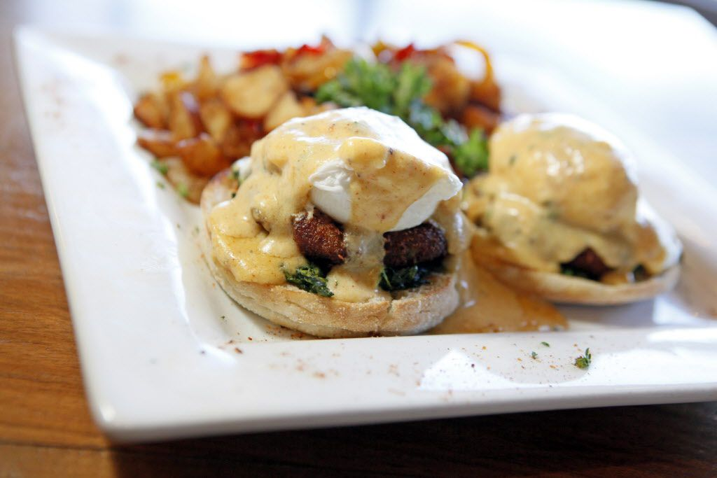 Crabcake florentine with fresh spinach, two poached eggs and a spicy creole hollandaise sauce, served during brunch at 504 Bar and Grill, on Sunday, Jan. 10, 2016 on Greenville Avenue in Dallas.