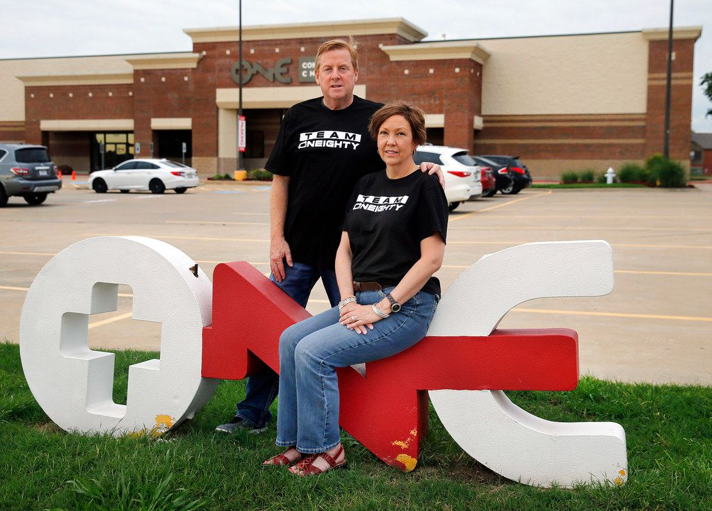 Dave Stephenson and his wife, Lisa, outside ONE Community Church in Lewisville.