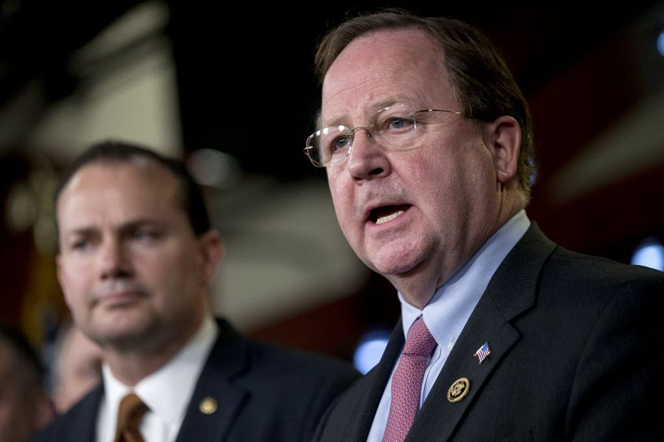 Rep. Bill Flores, R-Bryan, (right) and Sen. Mike Lee, R-Utah, (left) at a press conference in February on funding for the Department of Homeland Security.