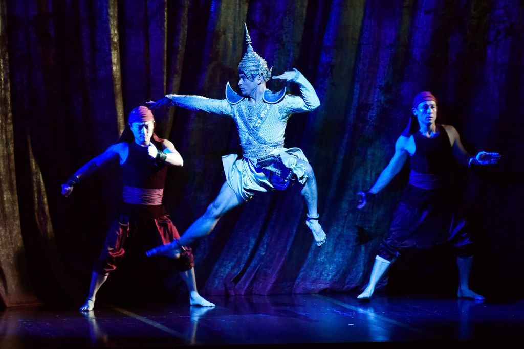 Royal Court Dancer (Jeoffrey Watson), center, in The King and I at the Winspear Opera House.