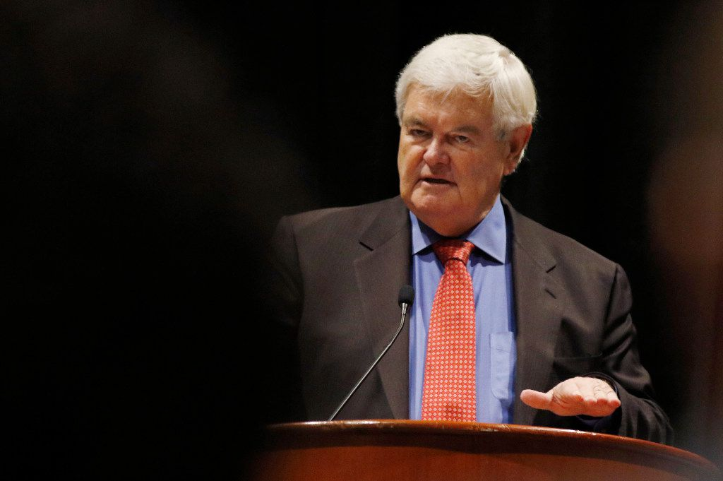 Newt Gingrich, former Speaker of the U.S. House of Representatives, speaks at the Career Education Colleges and Universities meeting at the Hotel Grand Hyatt at DFW International Airport on Nov. 18, 2016. (David Woo/The Dallas Morning News)