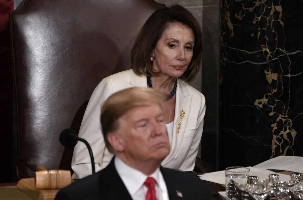 House Speaker Nancy Pelosi listens to President Donald Trump during the State of the Union address to a joint session of the Congress on Capitol Hill in Washington, D.C., on Feb. 5, 2019. (Olivier Douliery/Abaca Press)