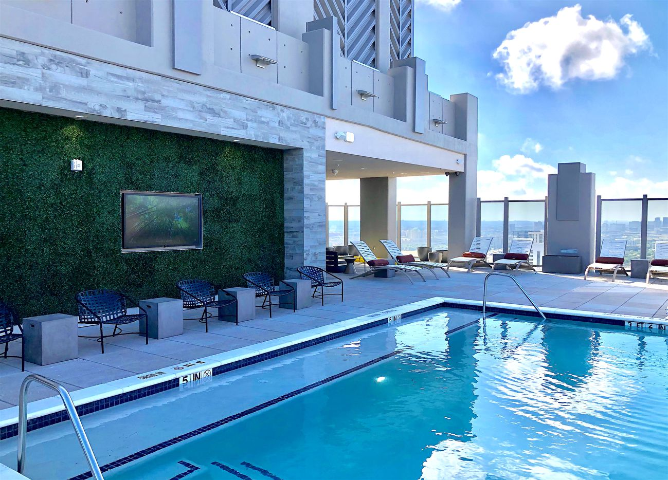 The rooftop pool at the SkyHouse Frisco Station.