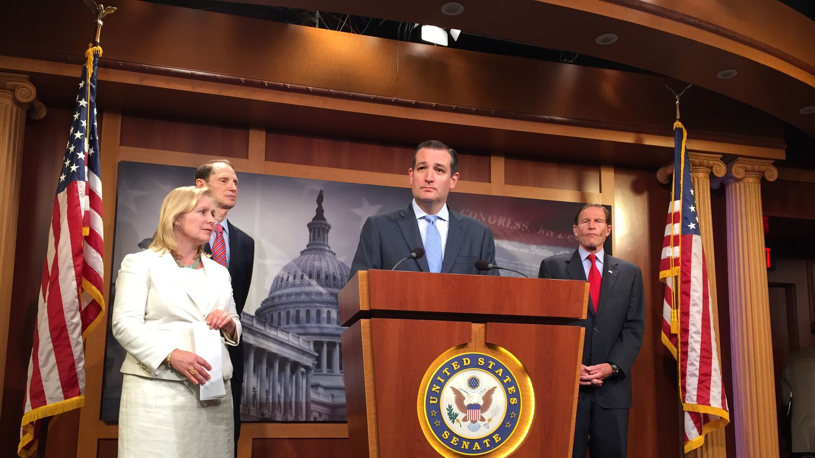 Sen. Ted Cruz, joined by (L to R) Sens. Kirsten Gillibrand, D-N.Y., Ron Wyden, D-Ore., and Chuck Grassley, R-Iowa., speaks in favor of the Military Justice Improvement Act on June 16, 2015 at the Capitol. The bill, which failed as an amendment to the National Defense Authorization Act, would have shifted sexual assault claims away from the victim's chain of command and over to independent military prosecutors. (Sylvan Lane/Staff photo).