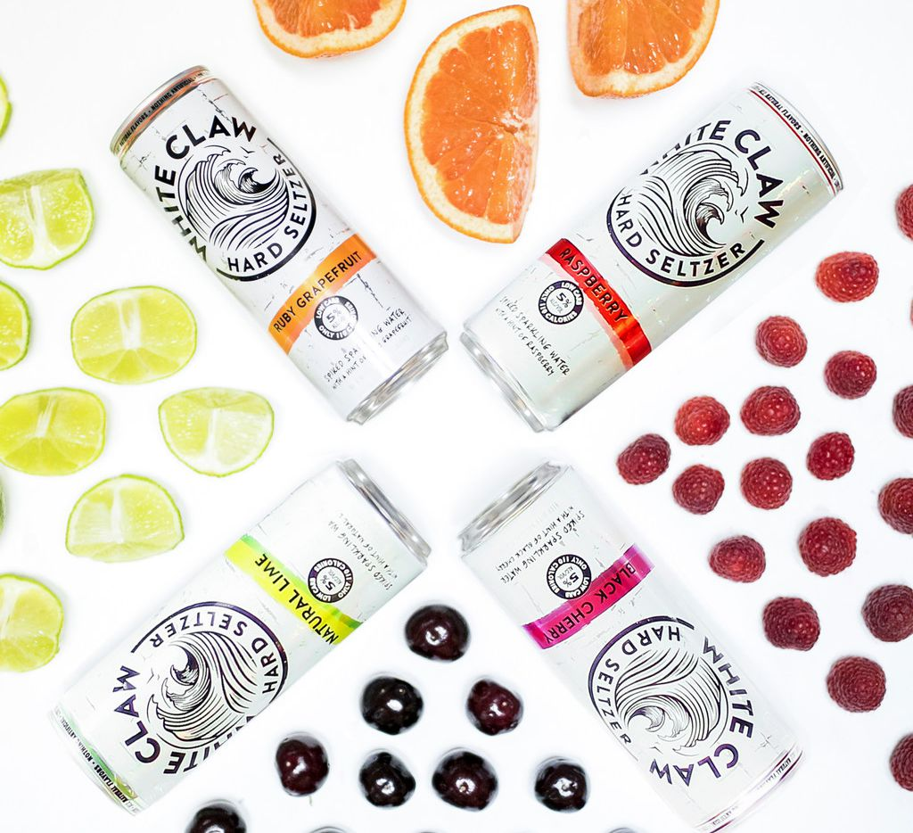 White Claw hard seltzer cans.