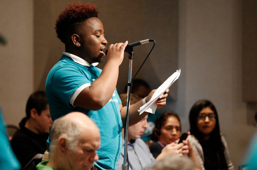 Dajaun Johnson, a senior at Townview Magnet Center, speaks out against the use of suspension as a disciplinary tool during a Dallas Independent School District board meeting at the DISD Administration building, Thursday, February 23, 2017. (Brandon Wade/Special Contributor)