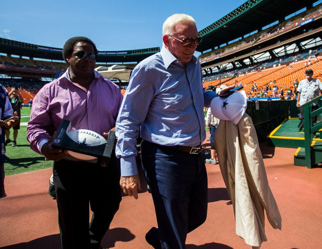 Dallas Cowboys owner Jerry Jones enters the stadium before an NFL preseason game between the Dallas Cowboys and the Los Angeles Rams on Friday, August 17, 2019 at Aloha Stadium in Honolulu, Hawaii. (Ashley Landis/The Dallas Morning News)