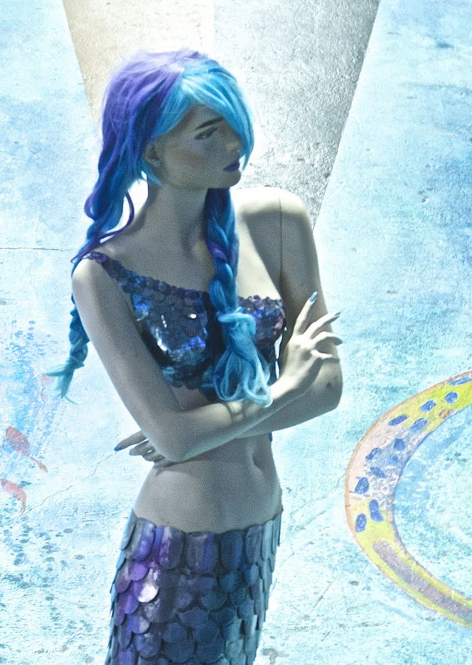 The mermaid at Spark is a creation by artists Pascal Pryor and James Bauer made from a mannequin donated by Neiman Marcus.