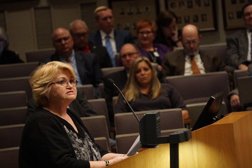 Jo Kirkbride speaks against the chicken ordinance during the city council meeting at City Hall in Irving, Texas on April 6, 2017.