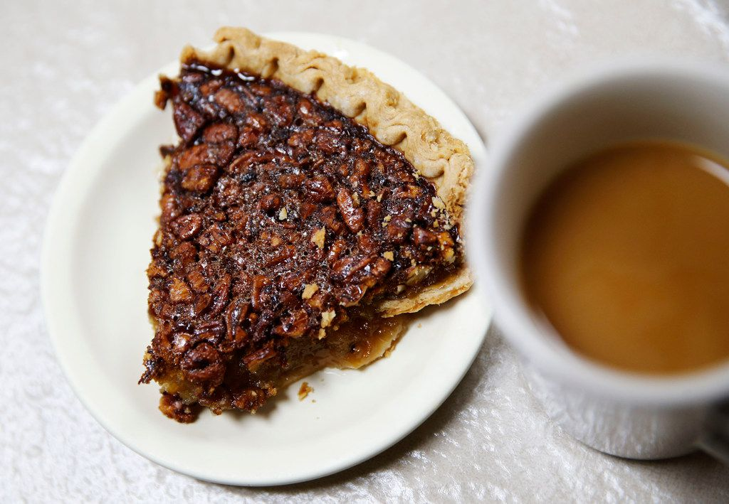 Pecan pie and coffee at Koffee Kup Family Restaurant in Hico, Texas on Friday, March 16, 2018. Rangel makes 90-100 pies a day.