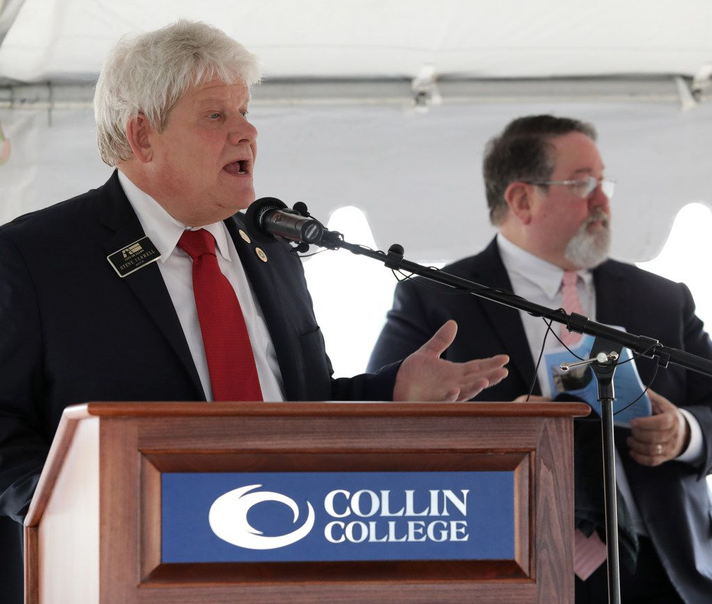 Allen Mayor Steve Terrell speaks during a groundbreaking event at the new Collin College Technical Campus construction site in Allen.