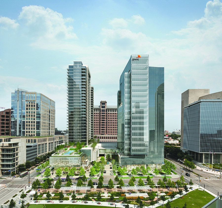 Park District: A two-tower, 916,000-square-foot office, retail and apartment development under construction at Pearl Street and Klyde Warren Park in Uptown Dallas. The 32-story apartment tower and 19-story office high-rise cost more than $250 million and will be finished next year.