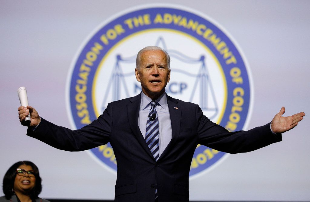 Democratic presidential candidate former U.S. Vice President Joe Biden participates in a Presidential Candidates Forum at the NAACP 110th National Convention on July 24, 2019 in Detroit, Mich. The theme of this year's convention: When We Fight, We Win.