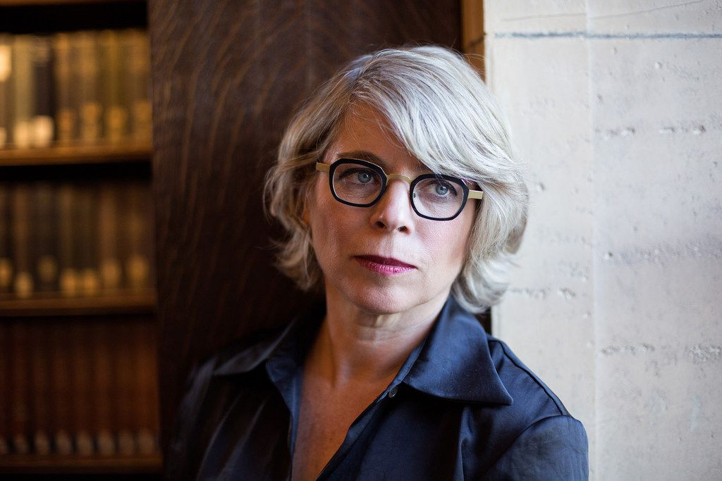 Historian and author Jill Lepore at the Widener Library at Harvard University, in Cambridge, Mass. Her new book, These Truths: A History of the United States, starts with Columbus' arrival and wends through the next five centuries.
