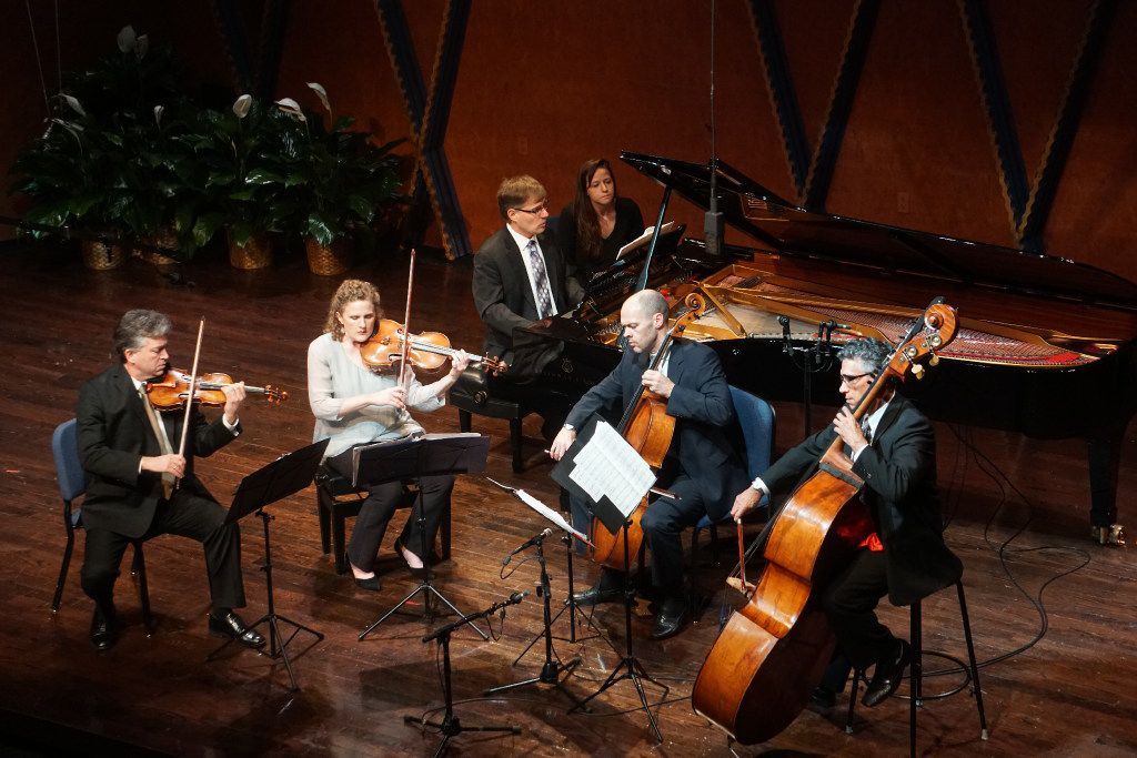 Pianist John Novacek joins violinist Curt Thompson, violist Kirsten Docter, cellist Brant Taylor and bassist Nicolas Tsolainos for with Ralph Vaughan Williams' Piano Quintet in C minor at the Mimir Chamber Music Festival Friday.