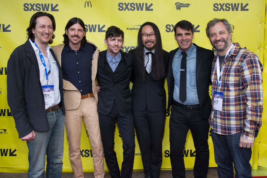 (L-R) Producer Michael Bonfilio, musicians Seth Avett, Scott Avett, Joe Kwon, Bob Crawford, and Producer/director Judd Apatow attend the 'May It Last: A Portrait Of The Avett Brothers' premiere 2017 SXSW Conference and Festivals on March 15, 2017 in Austin, Texas. / AFP PHOTO / SUZANNE CORDEIROSUZANNE CORDEIRO/AFP/Getty Images