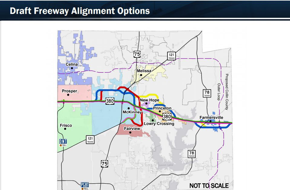 The Texas Department of Transportation's feasibility study for relieving traffic congestion along U.S. Highway 380 includes five routes for a possible freeway.